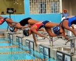 Inicio de una de las pruebas del torneo Regional por el XLIX Campeonato Novatos de Natación que auspicia EL UNIVERSO.