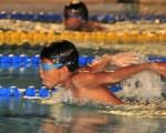 Jeremy Menoscal, del equipo de la Federación Deportiva del Guayas, ganó la prueba de los 50 metros mariposa, categoría 9-10 años, en el Novatos náutico.|