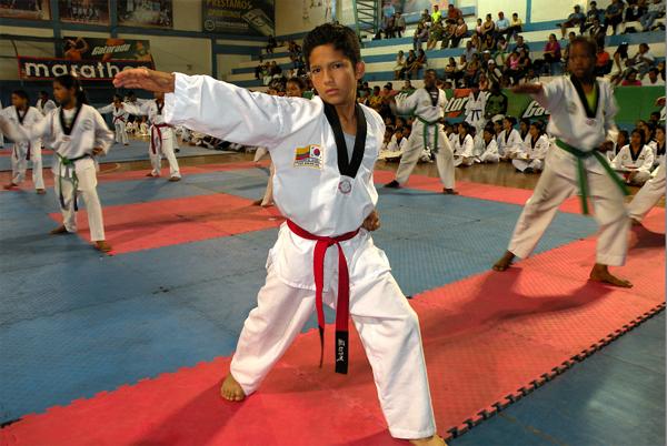 Guayaquil, 29 de octubre de 2012; inauguración del XIV Torneo Interbarrial de Taekwondo, realizado en le Coliseo Abel Jiménez Parra. demostración de habilidades de alumnos de TKD