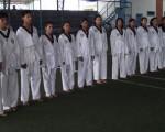 Deportistas del Instituto Técnico Superior Guayaquil y del colegio Vicente Rocafuerte son protagonistas del barrial de taekwondo.