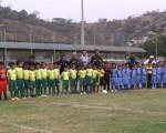 Conjuntos de la academia Alfaro Moreno D, la Canchita, Ciudad de Durán y el colegio Cristóbal Colón que participaron de las finales en las categorías sub-7 y sub-8 del torneo barrial de fútbol.