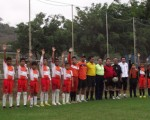 Equipos de la academia Alfaro Moreno L y Q que se enfrentaron al inicio de la jornada del pasado sábado en la Ciudad Deportiva Carlos Pérez Perasso.