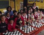 Alumnos del colegio Americano que estarán en el Novatos de Ajedrez, que se realizará en el auditorio de la Ciudad Deportiva. (Guido Manolo Campaña)