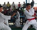 Daniel Palma (i) se enfrentó en uno de los duelos de katas a Michael Vergara, en la jornada final de esta especialidad que se cumplió por el Campeonato Interbarrial de Karate Do. Francisco Bravo