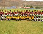 En una mañana con clima fresco se jugaron las finales de la categoría sub-6 con los pequeños de la Academia Alfaro Moreno (de pie), la Escuela de Fútbol M. de Babahoyo (verde) y Barcelona, quienes lograron el título del torneo de Verano. Ángel Aguirre